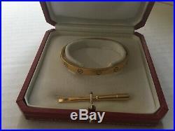 100 % AUTHENTIC-Cartier Love Bracelet Bangle 18K Gold Size 18