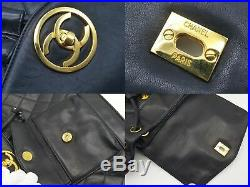 100%Auth CHANEL CC Lambskin Black Backpack Quilted Drawstring Gold Vintage Large