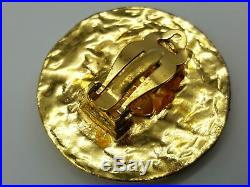 100%Auth CHANEL CC Logo Large Button Earrings Gold Clip-On Vintage COCO
