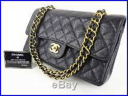 100%Auth CHANEL Flap Bag Chain 2.55 Caviar Black Gold Vintage Medium Quilted 25
