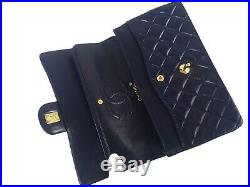 100%Auth CHANEL Flap Bag Chain 2.55 Navy Gold Vintage Classic Quilted 25cm