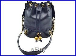 100%Auth CHANEL Mini Drawstring cross Body Shoulder Bag Vintage Leather Small