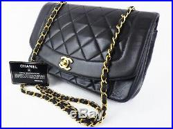 100%Auth CHANEL Vintage Diana Flap Bag Chain Shoulder Quilted Medium Classic