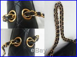 100%Auth CHANEL Vintage Flap Bag Chain 25cm Black Gold Classic Quilted 2.55