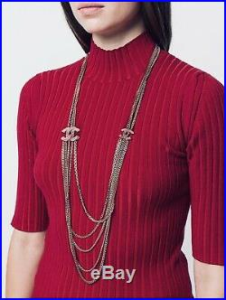 100% Auth. Chanel Long 21 Extra Long Necklace CC Crystals Gold Mutiple Chains