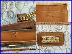 100% Auth Christian Dior Beige PVC Canvas & Gold Chain Shoulder Bag Made France