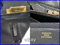 100%Auth HERMES Birkin 35 Vintage Hand Tote Bag Black Gold Ardennes Leather