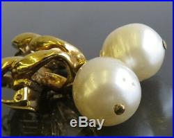 100% Authentic CHANEL Faux Pearl Gold-Tone Clip On Earrings Made In France