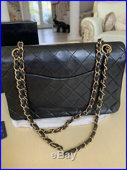 100% Authentic Chanel Classic Double Flap Black Lambskin Gold Hardware 2.55