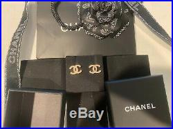 100% Authentic Chanel Gold Tone Dore Classic CC Strass Crystal Studs Earrings