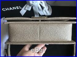 100% Authentic Chanel Medium Boy Bag 2018 in Gold Caviar withGold HW BNIB 18A NEW