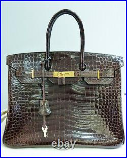 100% Authentic HERMES 35cm Birkin Bag in Crocodile Leather with Gold Hardware