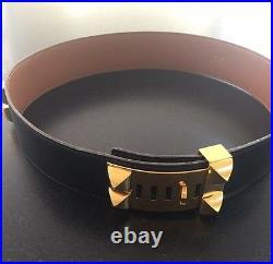 100% Authentic HERMES Medor Collier De Chien Leather Belt Black Gold