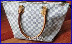 100% Authentic LOUIS VUITTON Damier Azur Saleya PM Tote Shoulder Bag France LV