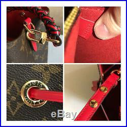 100% Authentic LOUIS VUITTON NeoNoe M43985 Monogram Coquelicot Red Shoulder Bag