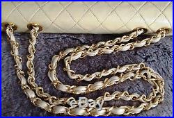 100% CHANEL Beige Gold Tone Quilted Lambskin 24K Gold Chain Maxi Jumbo Flap Bag