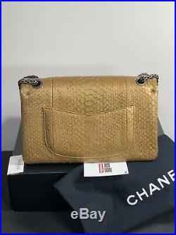 $10500 Auth CHANEL Python Royal GOLD Classic Jumbo Double Flap Bag