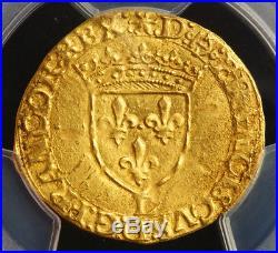 1547, Royal France, Francis I. Gold Ecu (with Sun) Coin. Bayonne! PCGS MS-62