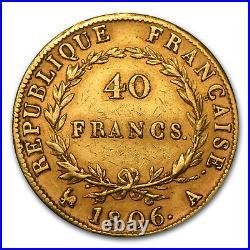 1806-1813 France Gold 40 Francs Napoleon I Avg Circ SKU #49818