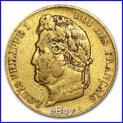 1830-1848 France Gold 20 Francs Louis Philippe I Avg Circ SKU #56661