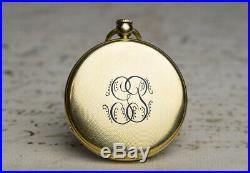 1830 EARLY KEYLESS WINDING + REPEATER 18k GOLD Antique Repeating Pocket Watch