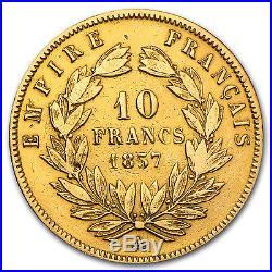 1854-1860 France Gold 10 Francs Napoleon III Avg Circ SKU #25991