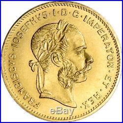 1892 Austria Gold 4 Florin 10 Francs. 0933 oz Franz Joseph I AU Restrike