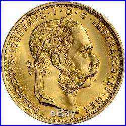 1892 Austria Gold 8 Florin/20 Francs. 1867 oz Franz Joseph I AU Restrike