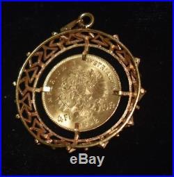 1892 Gold Austria 4 Florin /10 Franc Franz Joseph Coin with 18K Gold Bezel 6.79g