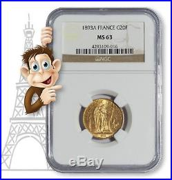 1893A Gold 20 Franc NGC MS63 - Lucky Angel Coin