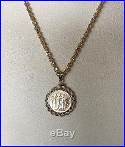 1896 LUCKY ANGEL 20 FRANC GOLD COIN PENDANT With SOLID 14K YG ROPE BEZEL NO CHAIN