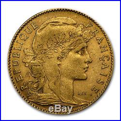 1899-1914 France Gold 10 Francs Rooster Avg Circ SKU #25990