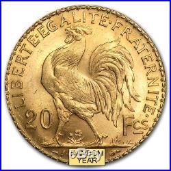 1899-1914 France Gold 20 Francs Rooster BU SKU #167650