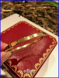 18K Cartier Love Bracelet (Small) Yellow Gold Size 16 with Box, Bag & COA