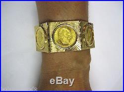 18K GOLD & 24k 1915 FRANC IOS IDG AVSTRIAE IMPERATOR COIN 7 3/4 BRACELET #20