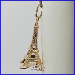 18K Gold 3D Paris France Eiffel Tower Charm Pendant 1.8gr