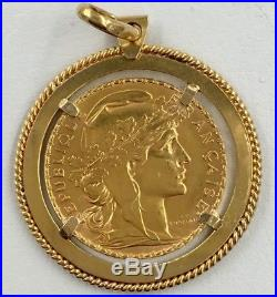18K Yellow Gold Framed 1910 20 Franc Gold Coin Pendant For Necklace 10.6 Grams