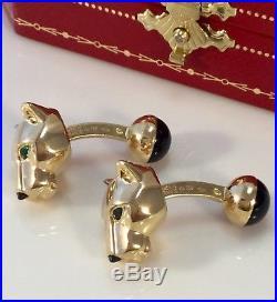 18k Panthere De Cartier Cufflinks Emerald Eyes Onyx Nose Pure Grace France Made