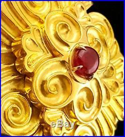 18k Wander France 3.40ct AGL Unheated Burma Ruby Enhancer Brooch Pin 70.3 Grams