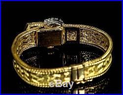 18k YELLOW Gold Diamond Designer MOVADO Ladies Bracelet Watch Made in France