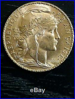 1907 France 20 Franc Rooster Gold Coin
