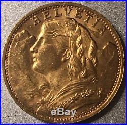 1935-B Helvetia 20 Franc Gold Swiitzerland