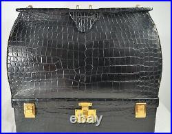 1950's-60's Hermès Black Crocodile Sac Mallette Doctor Bag withJewelry Compartment