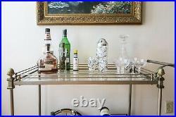 1960s Vintage Hollywood Regency Maison Jansen Bar Tea Serving Cart France