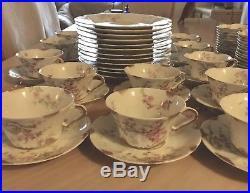 19th C Antique Haviland Limoges France Floral Dinner Set 87 Pcs Gold Trim