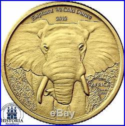2012 ELEPHANT 1/8 Gold Oz Gabon 5,000 Francs CFA Antique Finish Coin