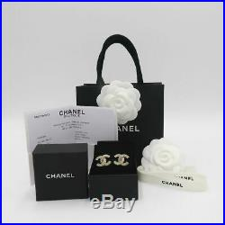 2019 Classic Collection! Chanel Large Crystal CC Logo Earrings in Gold