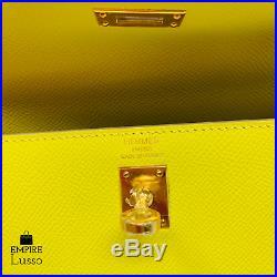 2019 New Hermes Kelly 25 Lime Yellow Sellier Epsom Gold Ghw Bag Birkin D Stamp