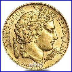 20 Francs French Early Head Ceres Gold Coin Avg Circ AGW. 1867 Random