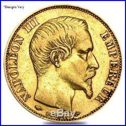 20 Francs French Gold Napoleon III AGW. 1867 oz Avg Circ 1852-1870, Random